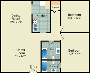 2 Bed / 2 Bath / 1,050 sq ft / Availability: Not Available / 725 with patio/balcony