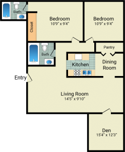2 Bed / 2 Bath / 1,325 sq ft / 725 with den