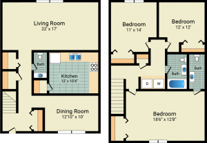 3 bed, 3 bath, 1466 sqft