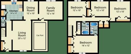 4 bed, 2.5 bath, 1888 sqft