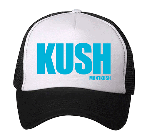 MONTKUSH branded hat with blue text