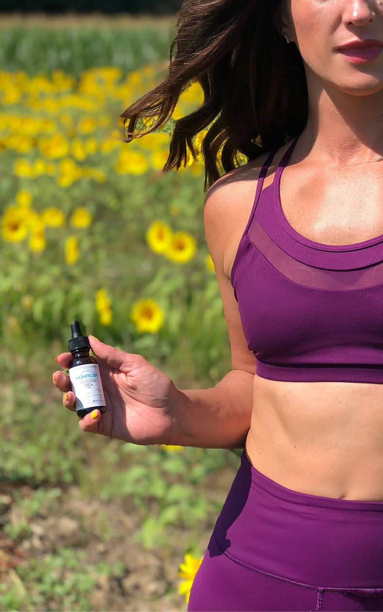 Mom, Model and Yoga lover Jaymie Kenney refuels with MONTKUSH CBD after each workout.