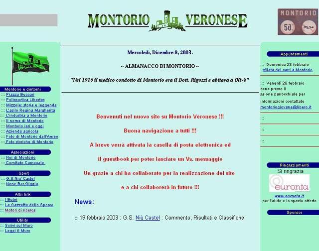 Prima home page - 18 Febbraio 2003