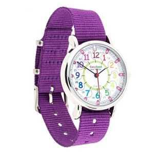 Montre pour enfants EasyRead Time Teacher à affichage « numérique » 12 et 24 heures, cadran aux couleurs de l'arc-en-ciel, bracelet violet