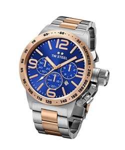 TW Steel Canteen Bracelet CB143 – Mouvement Quartz – Affichage Chronographe – argent et Cadran Bleu – Mixte