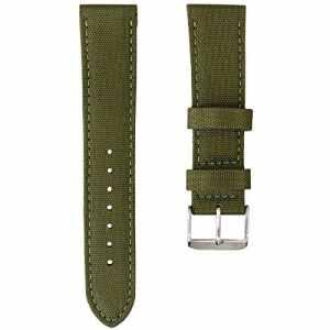 Bracelet de Montre Geckota® Sport Rembourré Résistant Nylon Toile Tissu, Vert Armée, 22mm