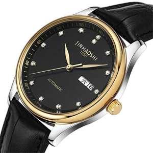 Montre double bracelet en cuir calendrier montre pour hommes étanche bande de luxe montre en acier montre, 4