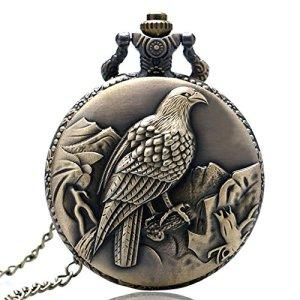 Miliya vintage Eagle montre de poche à quartz avec chaîne