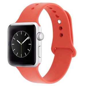 ZRO pour Apple Watch Bracelet, Silicone Souple Remplacement Sport Bande de Montre pour 42mm iWatch Série 2/ Série 1, Taille S/M, Orange