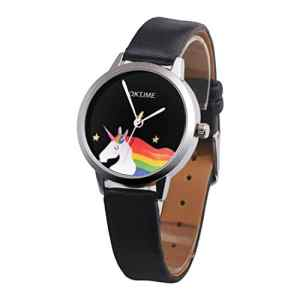 Souarts Cartoon Montre Bracelet Quartz Analog Cadran Licorne Cuir Artificiel pour Enfant Noir 24cm