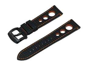 Bracelet de Montres Noir & Orange Style Rallye de 19mm Gaufre en Fibre de Carbone Accompagne d'une Boucle Noire en Acier Inoxydable Brossee