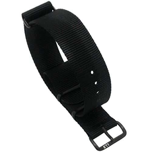 Luxury Line Strap Nato Bracelet de montre militaire, balistique, en nylon, G10, couleur noir, PVD IP Nero, 20 mm