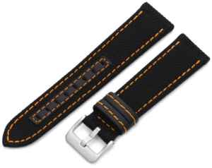 V'ritable Kevlar – Hadley Roma MS848-ORG – 22mm bracelet noir (couture orange, doublure en cuir)