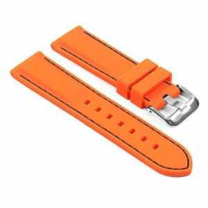 StrapsCo StrapsCo Bracelet de Montre de Remplacement en Caoutchouc de Silicone pour Sports de Plongée Orange avec Piqûres Noires 18mm
