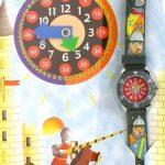 Baby Watch – Montre Garçon – Zip Chevalier – Montre pédagogique 6-9 ans – Plastique gomme gris avec dessins 3D – Méthode d'apprentissage