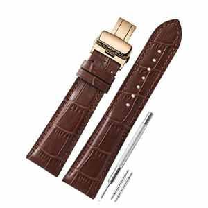 Bracelet de montre en cuir de veau véritable 18mm 19mm 20mm 21mm 22mm Boucle de papillon déployante en or rose en acier inoxydable CHIMAERA