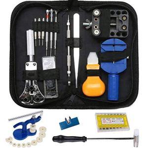 Kit Reparation Outil Montre Horloger Professionnel – STAGO 499 pcs Montre Outils Kit de Outils Horloger, Presse Boitier Montre