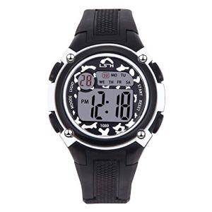 Montres-Bracelets pour Garçons Filles Sports-3 ATM Montre de Sport en Plein air étanche avec, Montres électroniques pour Enfants (Noir et Blanc)