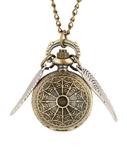 Harry Potter Vif d'or rétro Montre de Poche en Bronze en Forme de Boule avec des Ailes à Quartz Collier Montre de Poche, Cadeau pour Homme (1)