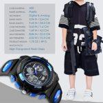 Montre de sport numérique pour enfants – Montre analogique étanche avec alarme – Multifonction – Bleu