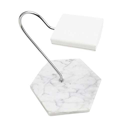 FITYLE Antidérapant marbre Base Montre Affichage Stand PU Cuir Porte-Bijoux Support pour Montres Bracelets Bracelets – Socle en Marbre Blanc et Blanc PU Coussin