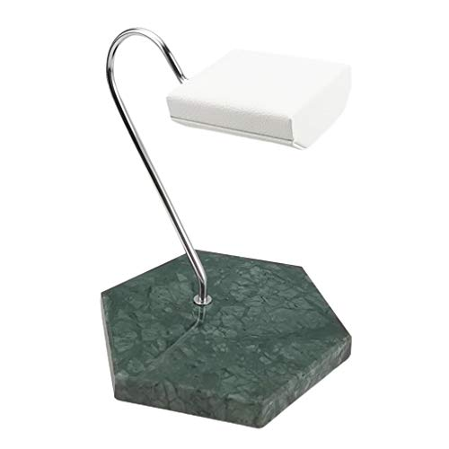 Milageto Antidérapant marbre Base Montre Affichage Stand Bracelet Bracelet Placement Organisateur Rack pour Les Hommes et Les Femmes – Vert Marbre Base et Blanc PU Coussin