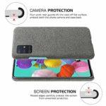 Oihxse Business Housse Case Compatible pour Samsung Galaxy A21S Coque en Tissu Toile Full Protection Étui Ultra Mince Léger Anti-Slip Antichoc Antifouling Hybride Cover,Gris Foncé