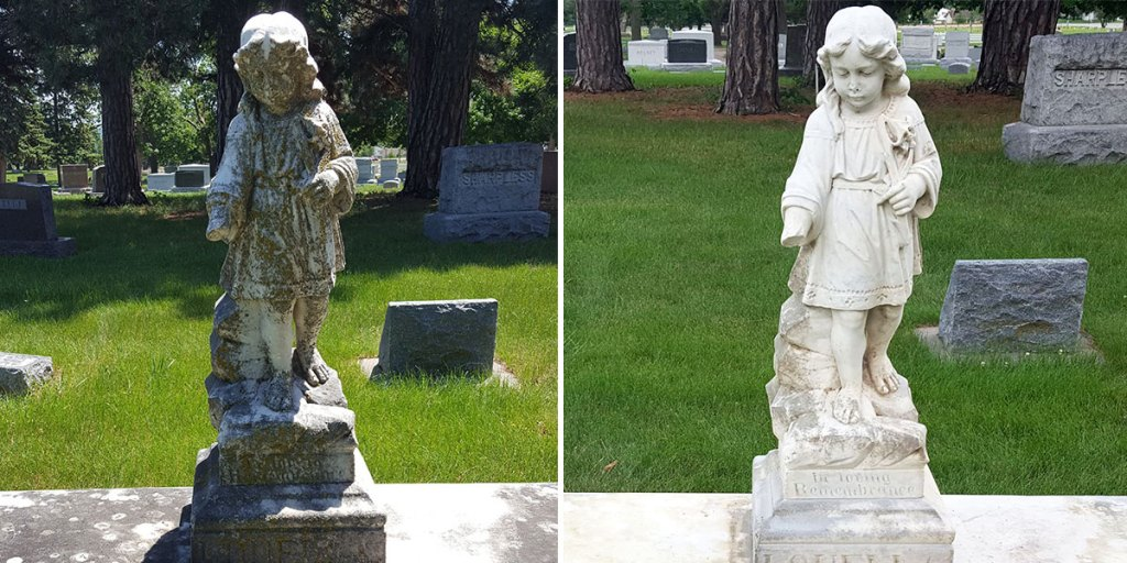 Re-finish and restore statue in cemeteries, Norfolk, Nebraska