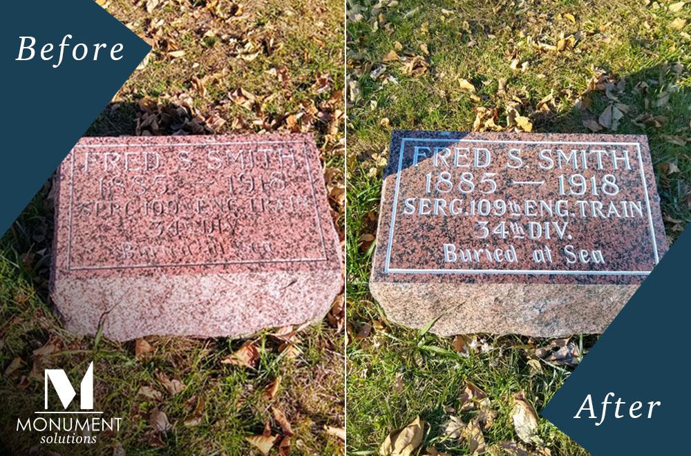 Headstone Restoration Norfolk Nebraska Monument Solutions
