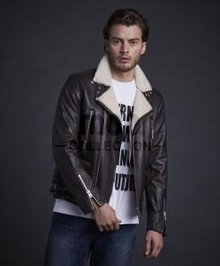 Tiger Biker Leather Jacket Brown