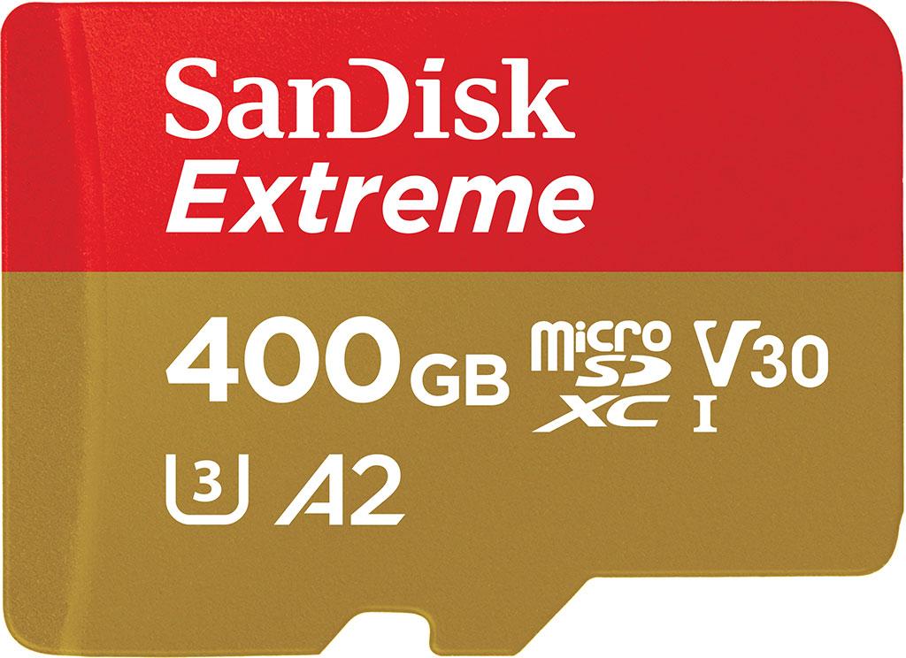 Die SanDisk microSD-Karte Extreme microSDXCTM 400 GB ließt bis zu 160 MByte/s schnell. (Bild: WD)