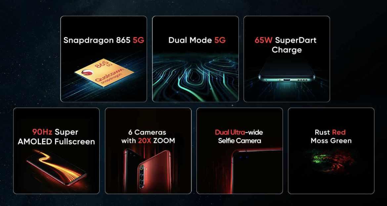 Bisher bekannte Details des Realme X50 Pro 5G. (Bild: Screenshot)