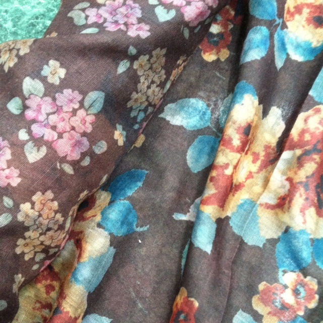 Poly double-faced print fabric from Mood Fabrics.