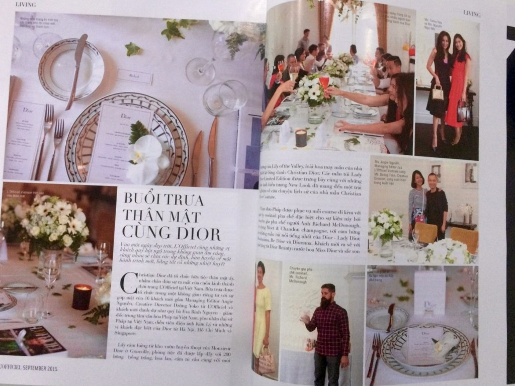 Media Coverage of the Mood Therapist (Rich McDonough) featured in L'Officiel Magazine at Christian Dior event
