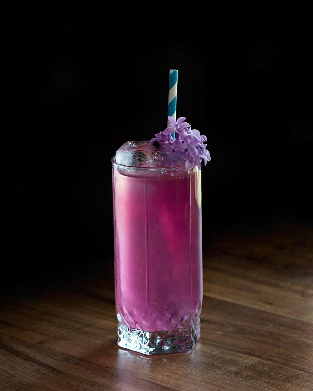 lilac gin lemonade cocktail