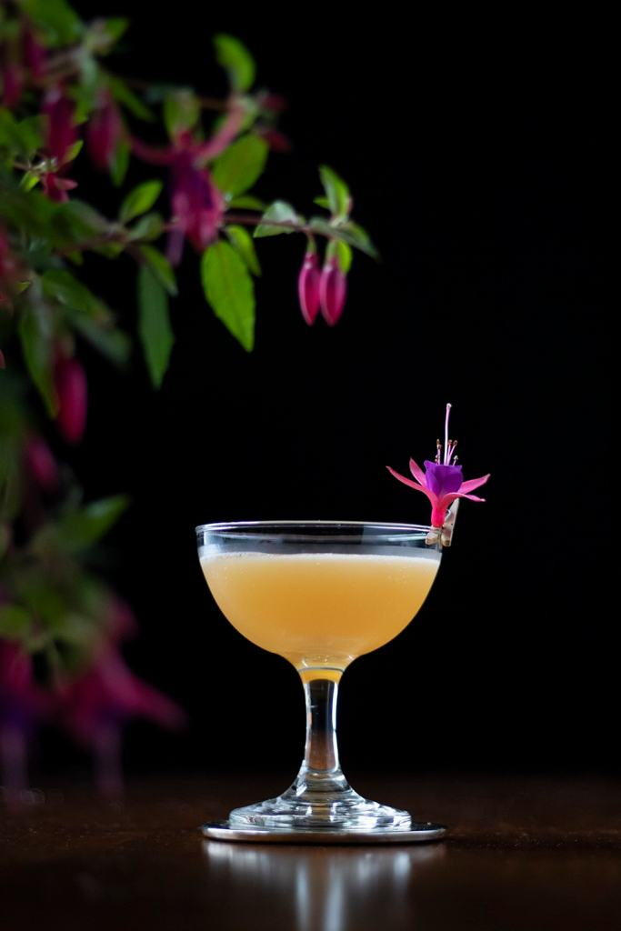 rhum agricole daiquiri garnished with fuchsia blossom