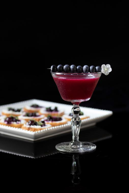Blueberry Bourbon Reviver with Blueberry Thyme Goat Cheese Crostinis