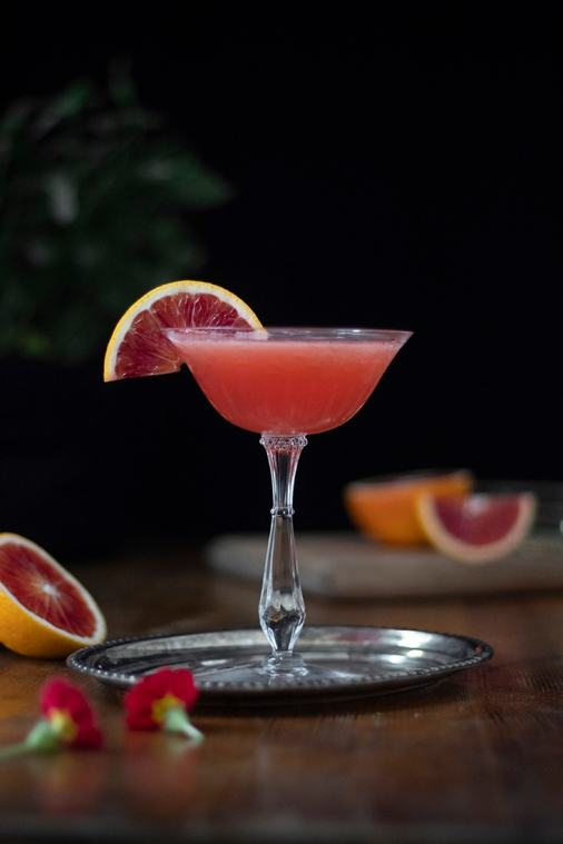 Blood Orange Whiskey Sour with Cherry Blossom Honey