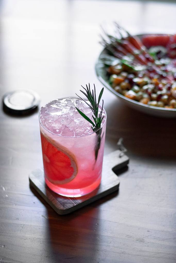 grapefruit pomegranate honey vodka sour cocktail recipe winter citrus
