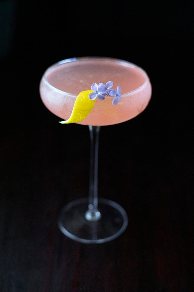 pink cocktail top down view with shallow focus on lilac blossom garnish