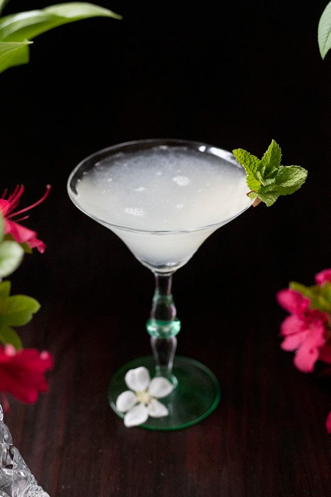 top down view of a white cocktail in a martini glass garnished with mint surrounded by red flowers