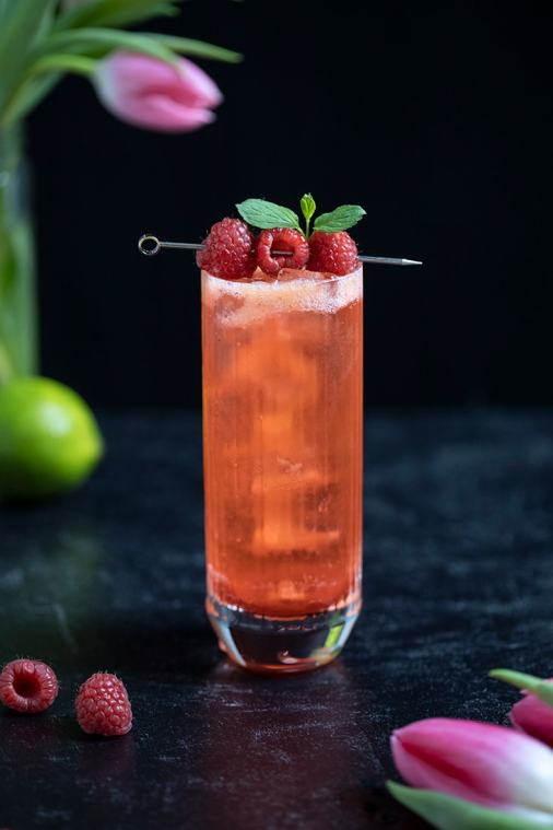 Raspberry Rickey Mocktail