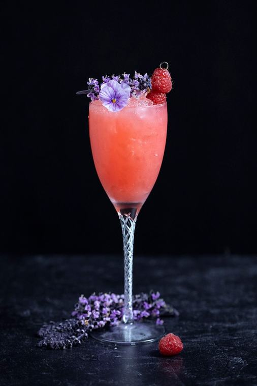 Raspberry Basil Blossom Gin Smash