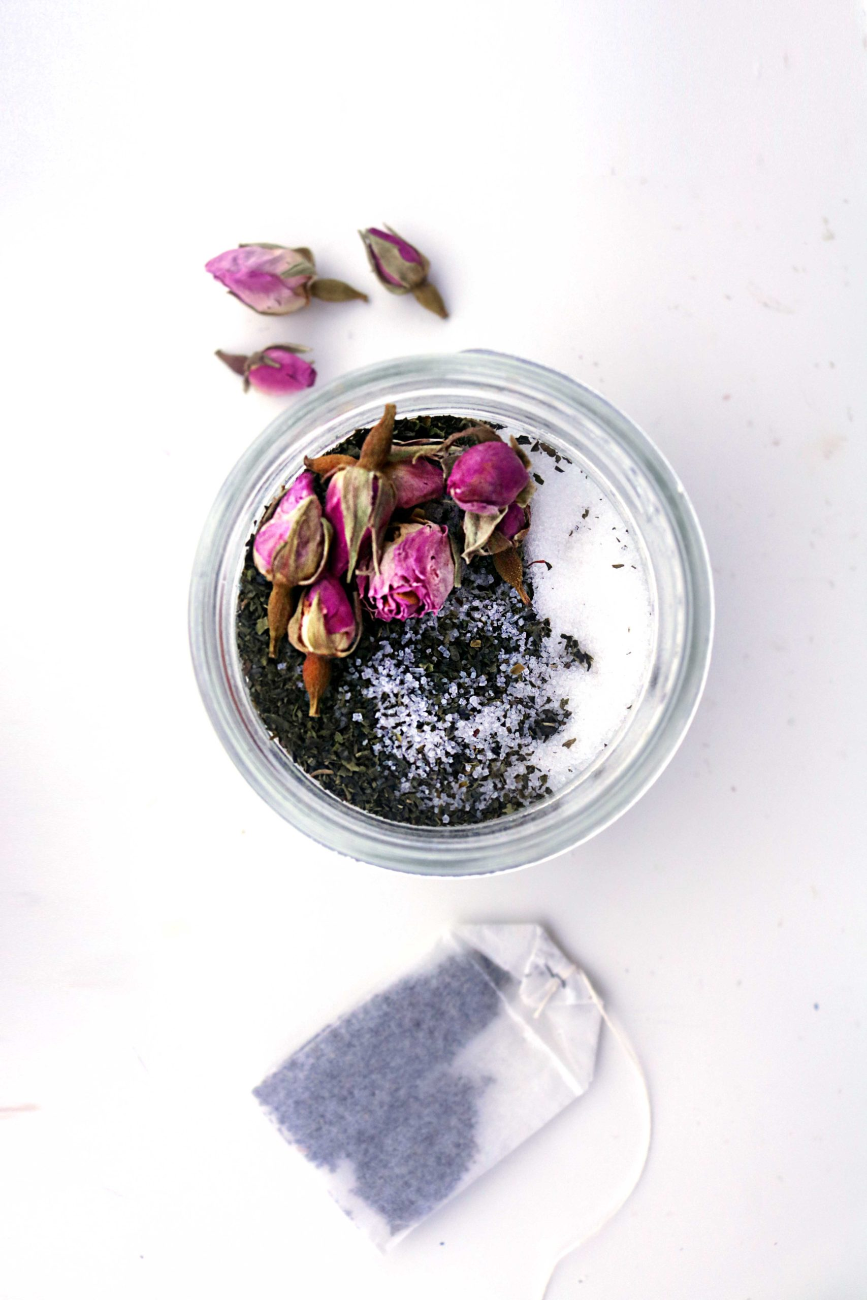 Green tea & rose ritual salts are a perfect DY project idea for Ostara, the Spring Equinox, spring handfastings, baby showers and love spells.