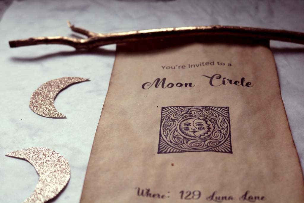 Moon party spell scroll invitations.
