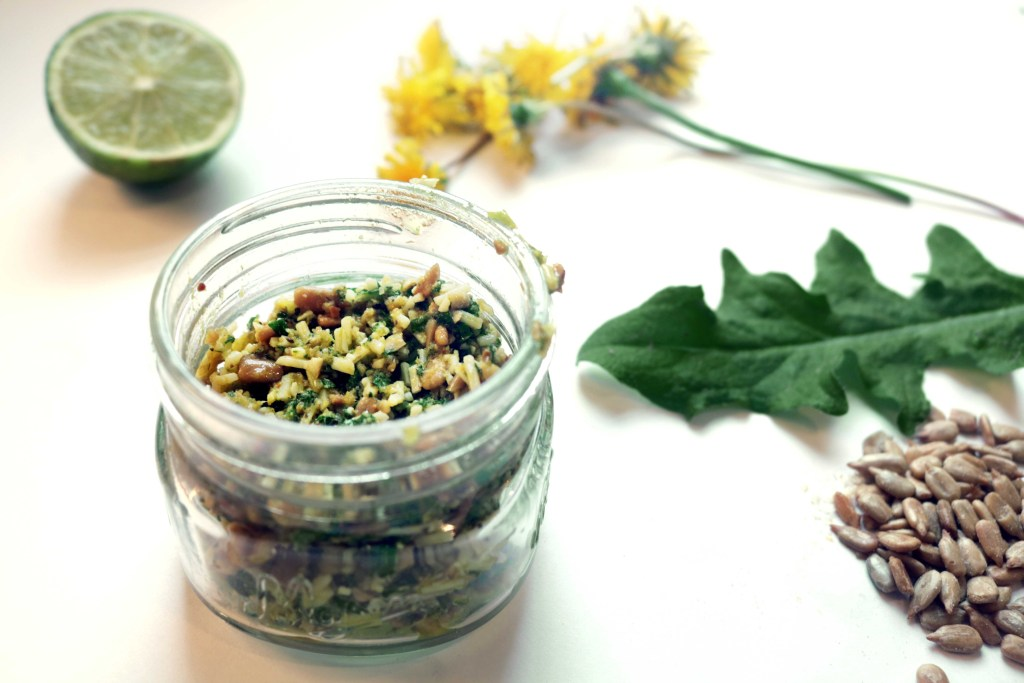 Make dandelion pesto sauce from wildcrafted dandelion leaves, sunflower seeds, olive oil and tumeric. YUM.