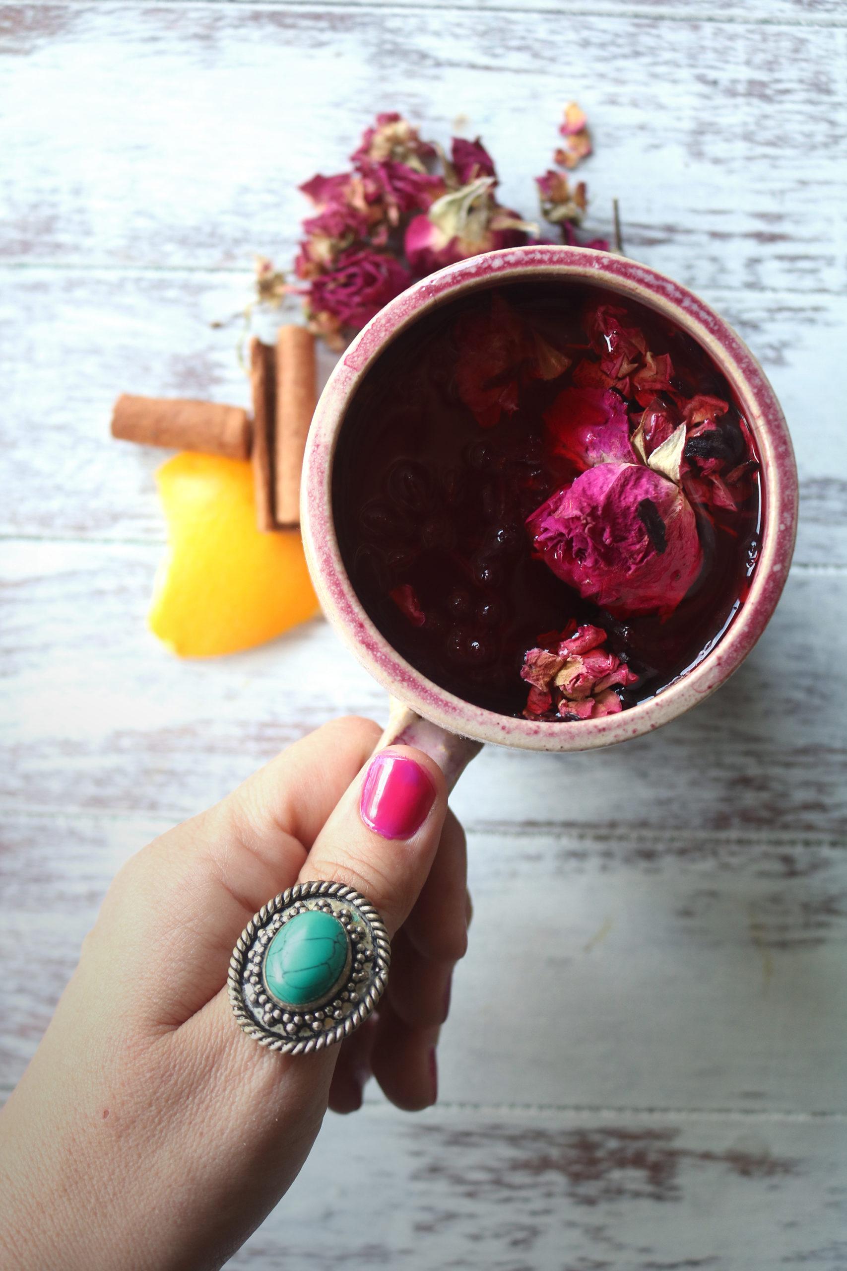 Blood moon tea recipe for rituals & Esbats.