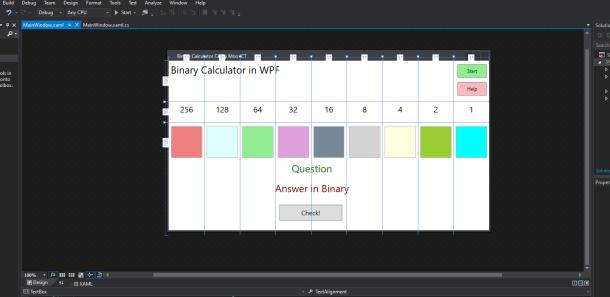 mooict wpf c# Binary Calculator game updated window screen shot