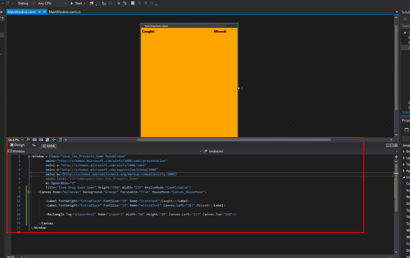 mooict wpf c# save the presents game - preview of window after xaml code change in visual studio