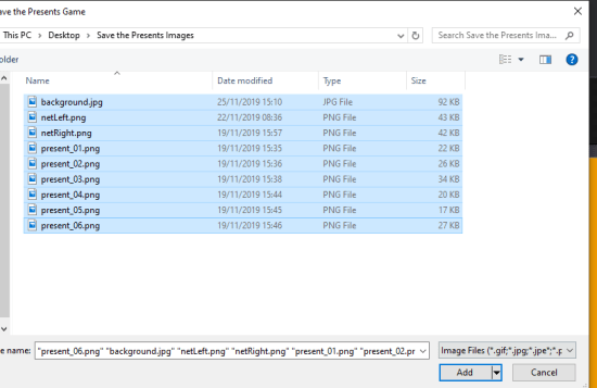 mooict wpf c# save the presents game - highlight all files and click on add to import them to visual studio project